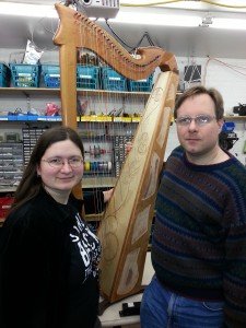 Elizabeth and Ryan with a fully strung harp