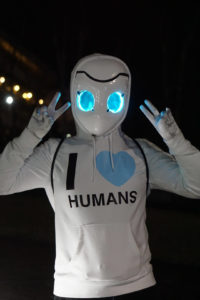"Skylar at Katsucon dressed as Drossel with a hoodie that says ""I HEART HUMANS"""