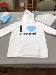 I HEART HUMANS sweater with blue heart