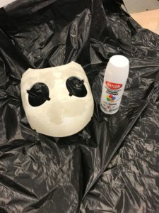 Drossel mask before painting, area prepped with garbage bag