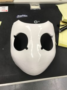 Drossel mask after clear coating, very shiny, very white